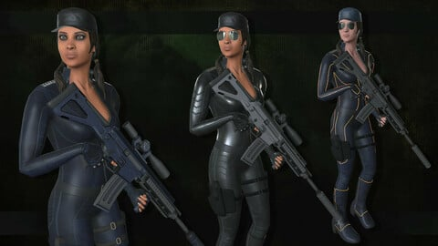 Customizable Female Soldier Modern Style