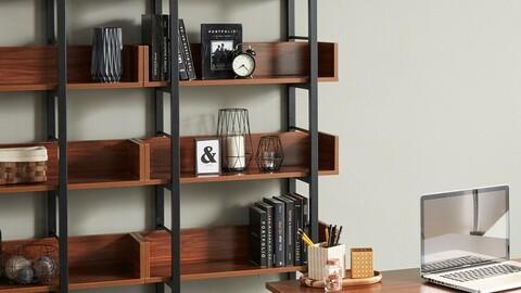 Steel bookshelf square frame W800 5-layer 8colors