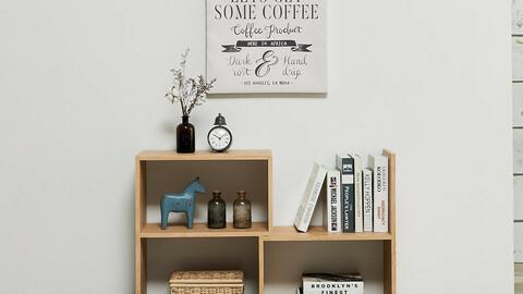 DIY horizontal width adjustable 2-tier bookcase mini cabinet (3colors)