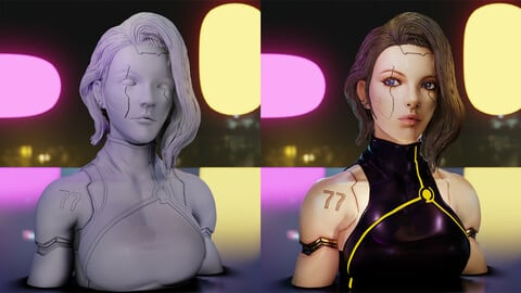 Cyberpunk Girl bust for 1/6 scale printing