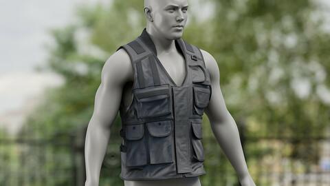 Realistic 3D model of Men's Vest 4