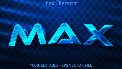Max text, shiny blue chrome color style editable text effect