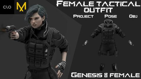 Clo3d/Marvelous designer Female tactical outfit. Zprj/Obj/Pose