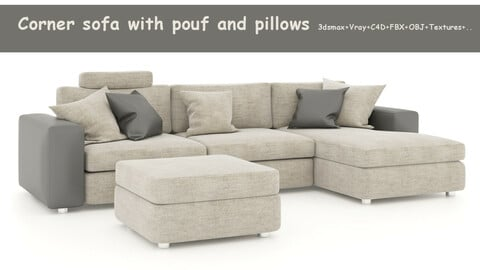 Corner sofa with pouf and pillows