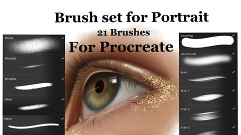 Brush set for portrait (21 brushes: coloring, hair, wrinkles, lashes & more) for Procreate
