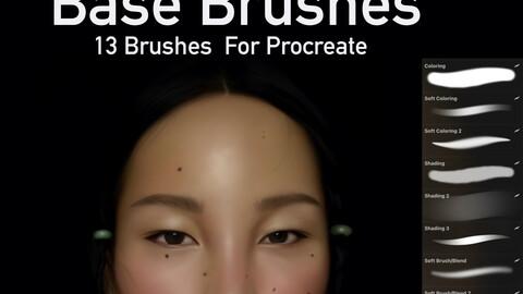 Base Brushes (13 Brushes for Procreate) + 5 Pallets
