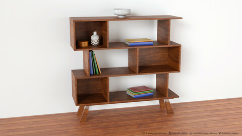 Bookshelf   3D model   2k Textures