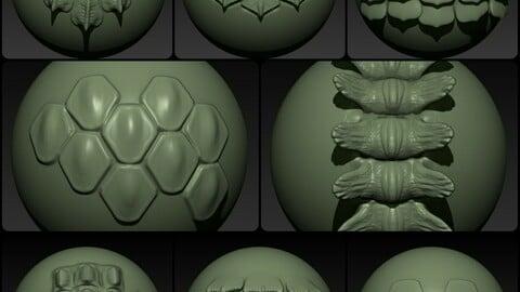 8 VDM Brushes, reptile (dragon) skin.