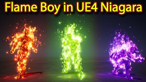 Fire character Effect in UE4.26 Niagara