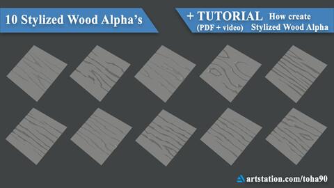 10 Stylized Wood Alphas