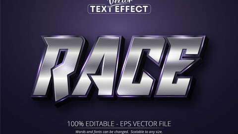 Race text, shiny silver color style editable text effect