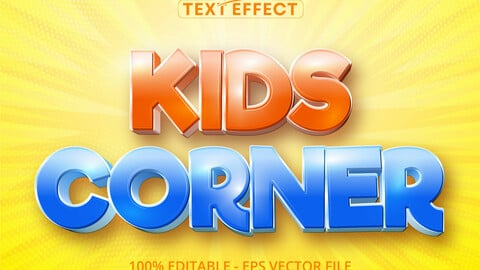 Kids Corner text, cartoon style editable text effect