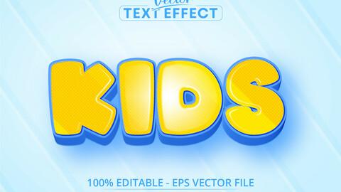 Kids text, cartoon style editable text effect