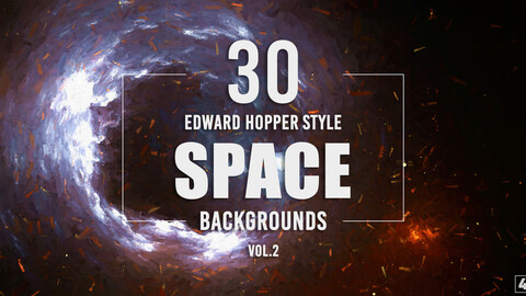 30 Edward Hopper Style Space Backgrounds - Vol.2