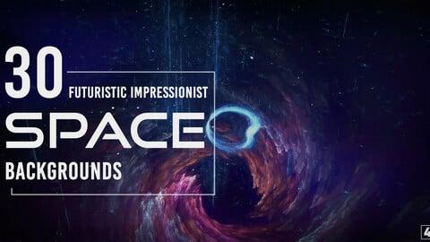 30 Futuristic Impressionist Space Backgrounds - Vol. 1