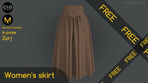 Free women's skirt. Clo3d, Marvelous Designer project.