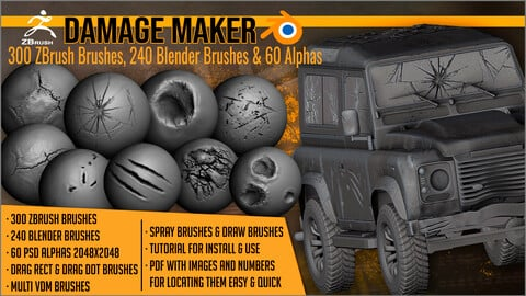 Damage Maker: 300 ZBrush Brushes, 240 Blender Brushes & 60 Alphas