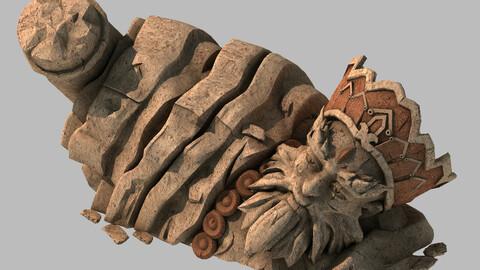 Stone Statue Group - Broken - Buddha Image 04