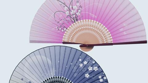 Japan Fan Low-poly 3D Model + Animation
