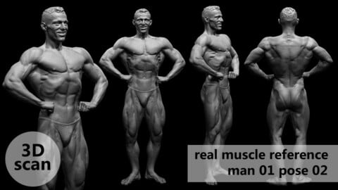 3D scan real muscleanatomy Man01 pose 02
