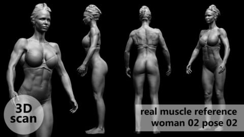 3D scan real muscleanatomy Woman02 pose 02