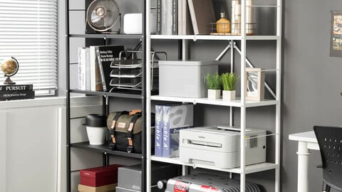 5-tier folding shelf gap cabinet steel shelf (whiteblack)