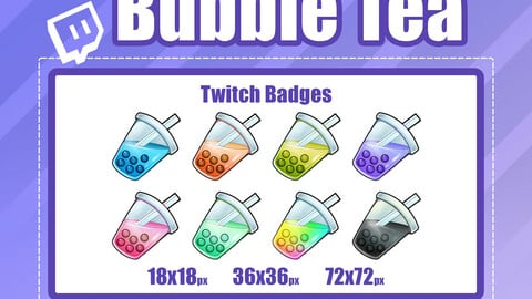 8x BUBBLE TEA TWITCH Sub Badges