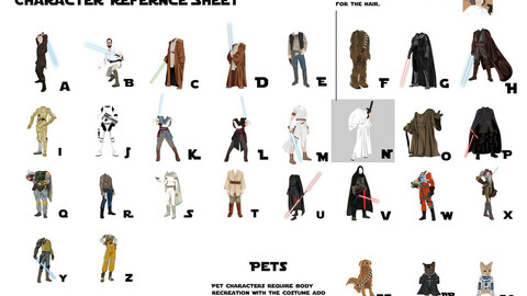 Star Wars character clothes templates (Ai vector file)