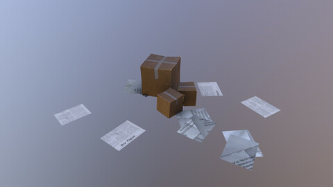 Papers and Boxes 3D Model