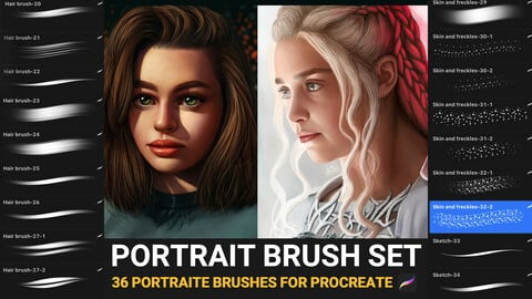 Portrait brush set for Procreate (Premium)