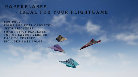 Paper plane - Package Low-poly 3D model