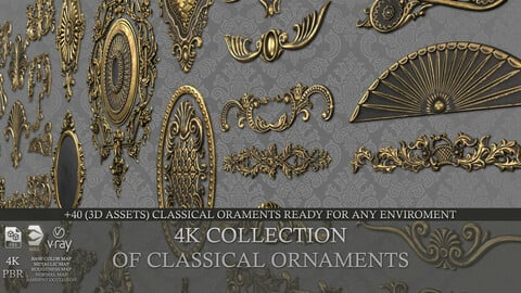 4K 3D ASSETS OF CLASSICAL ORNAMENTS