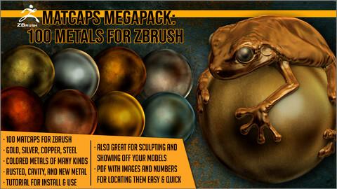 Matcaps Megapack: 100 Metals For ZBrush