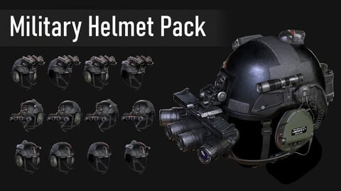 Low Poly Military Helmet Pack