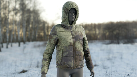 Realistic 3D model of Women's Down Jacket Mud