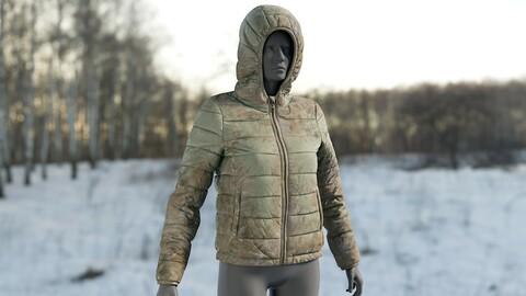Realistic 3D model of Women's Down Jacket Dirty