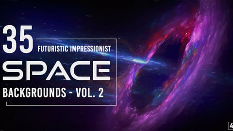 35 Futuristic Impressionist Space Backgrounds - Vol. 2
