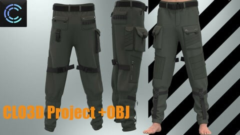Military Pants OBJ+ Clo3D Project