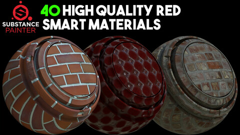 40 High Quality Red Smart Materials / .spsm