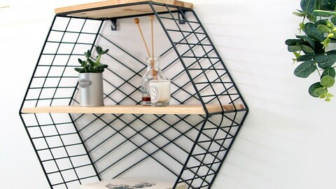 Matt Hexagon Shelf 2-tier