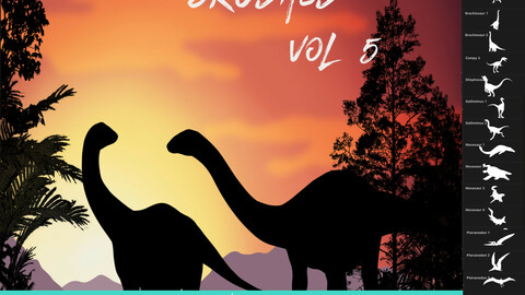 33 Dinosaur Brushes for Procreate Vol 5