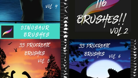 116 Dinosaur Brushes for Procreate Bundle Vol 4-6