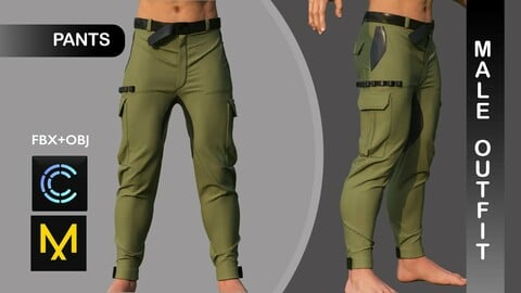 Male Pants. Man Outfit. Marvelous Designer/Clo3d project + OBJ + FBX