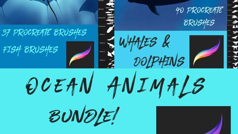 77 Ocean Animals Brushes for Procreate Bundle