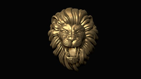 Furious Lion Head 3D print model