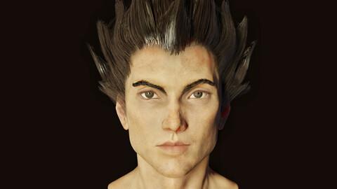 Realistic Vegeta head mesh