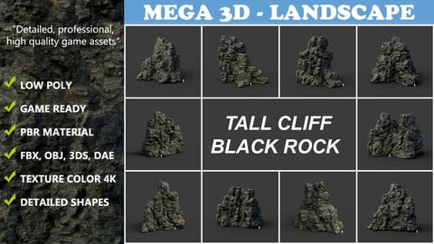 Low poly Tall Cliff Black Rock Collection 210502
