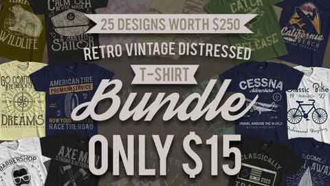 25 Designs for T-shirts, bundle only 15 usd