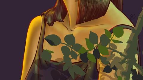 tbe girl and leaf roses