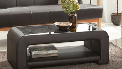 PU leather tempered glass sofa table 4colors